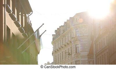 ville, vieux, rayons, riga, lettonie, lumière, souligner
