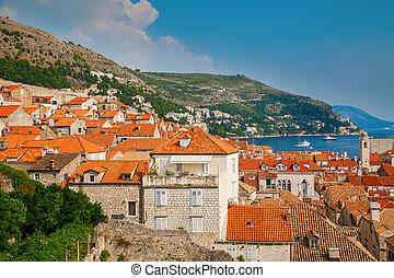 ville, vieux, toits, dubrovnik, maisons, petit, rouges