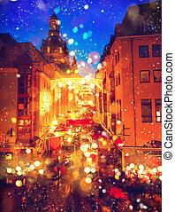 ville, vieux, traditionnel, noël, marché, européen