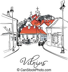 ville, vieux, vilnius, lituanie, rue, typique