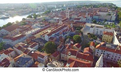 ville, vieux, vue, aérien, zadar.