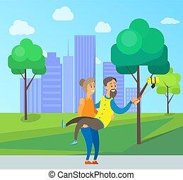 ville, ville, vieux gens, photo, prendre, parc, selfie