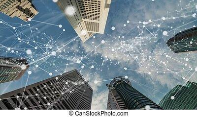 ville, visuel, connexion, graphique, numérique, projection, intelligent, réseau, globalisation, imaginatif, résumé