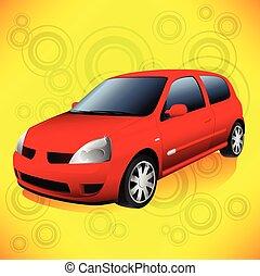 ville, voiture, petit, froussard, retro, fond, orange, rouges
