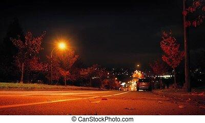 ville, voitures, conduire, bas colline, nuit