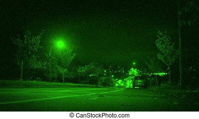 ville, voitures, conduire, bas colline, vision nuit