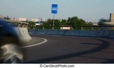 ville, voitures, signe, noir, autoroute, mouvements, route