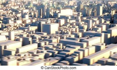 ville, wireframe, aérien, loopable, vue