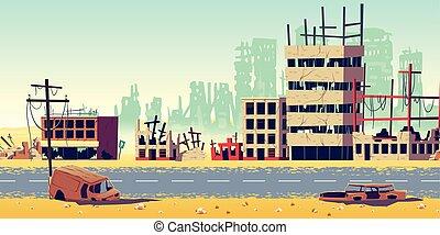 ville, zone, dessin animé, vecteur, fond, guerre