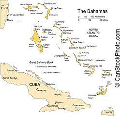villes capitales, commandant, îles, bahamas