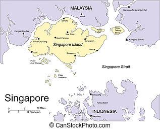 villes capitales, singapour, entourer, commandant, pays