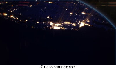 villes, satellite., nous, nuit