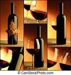vin, bouteille, vin, collage, composition, verre