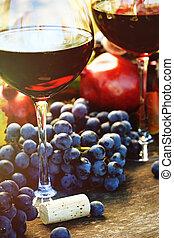 vin, closeup, raisins rouges, lunettes