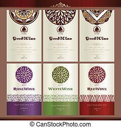 vin, collection, étiquettes