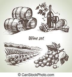 vin, ensemble, vecteur, main, dessiné