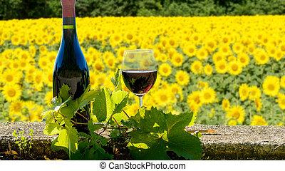 vin, tournesols, bouteille, champ, été, paysage, rouges, verre