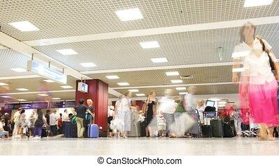 vinci, gens, bagage, -, da, aéroport., fiumicino, leonardo