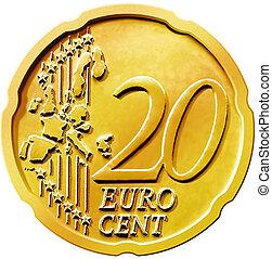 vingt, (20), monnaie, cent, euro