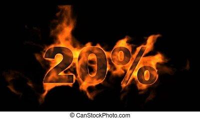 vingt, cent, 20%, vente, fermé