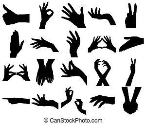 vingt, silhouettes, femme, mains