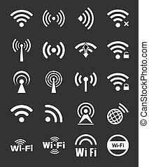 vingt, wifi, ensemble, icônes