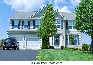 vinyle, maison, suburbain, famille seule, md, maison, prendre parti