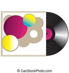 vinyle, vecteur, record., retro