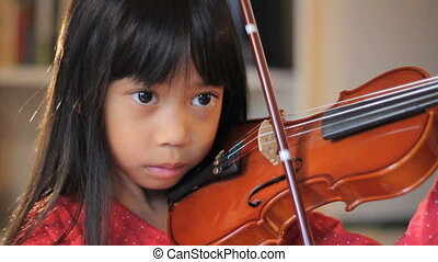 violin-close, girl, pratiques, haut, elle
