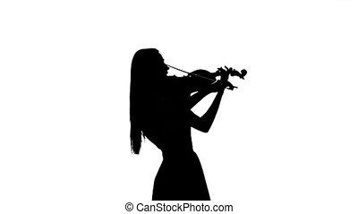 violiniste, lent, silhouette, mouvement, arrière-plan., blanc, jouer, fiddle.