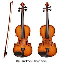 violon, détaillé, réaliste, vecteur, fiddlestick