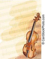 violon, fait main, fond, notes., musique