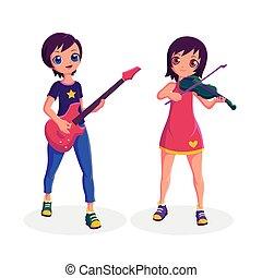 violon, jeu guitare, femmes, musicien, collection