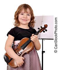 violon, petite fille, heureux