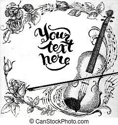 violon, roses
