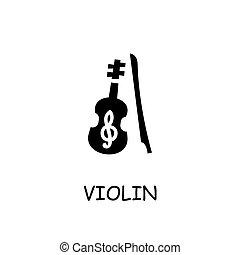 violon, vecteur, plat, icône
