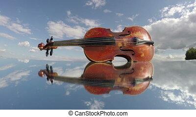 violon, vieux, musique instrument, miroir