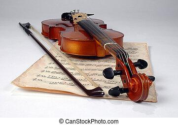 violon, vieux, partition