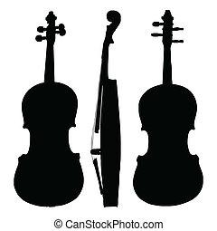 violon, vieux, silhouette, côtés