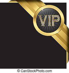 vip, diamants, doré, étiquette