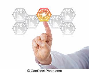 virage, énergie, métaphore, centre, solaire
