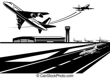 virage, avions, attente, leur, décoller