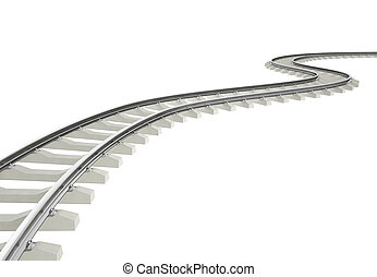 virage, coude, chemin fer, illustration