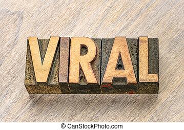 viral, type, bois, mot