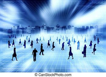 virtuel, gens, ville