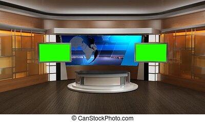 virtuel, nouvelles tv, écran, 339-, studio, arrière-plan vert, ensemble, boucle