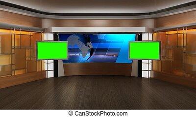 virtuel, nouvelles tv, écran, studio, 338-, arrière-plan vert, ensemble, boucle