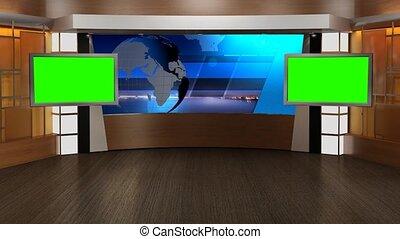 virtuel, nouvelles tv, écran, studio, arrière-plan vert, 340-, ensemble, boucle