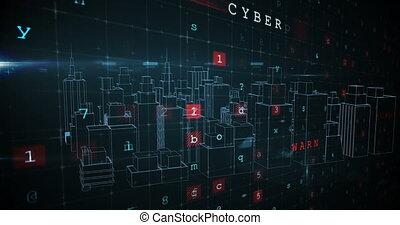 virtuel, ville, termes, bâtiments, sécurité, ligne