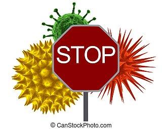virus, arrêt
